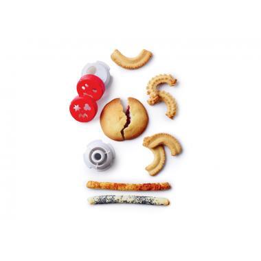 Составные части механизма мясорубки+корпус+насадка для печенья+насадка для сосисок